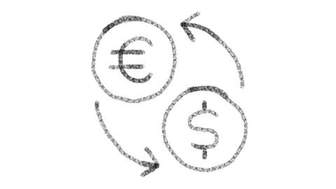 icon change currencies with drawing style on blackboard, animated footage ideal Archivo