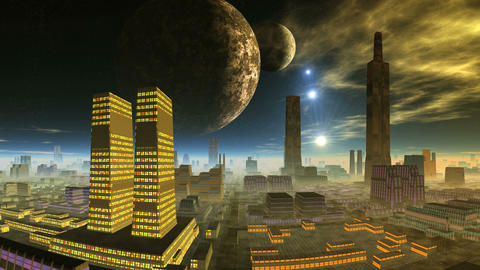 Two Planets and Shooting Stars over Alien City CG動画