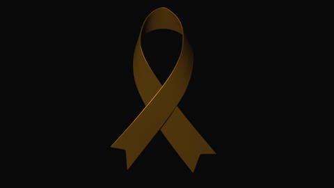 Awareness ribbon, the problem of childhood cancer, computer generated gold Footage