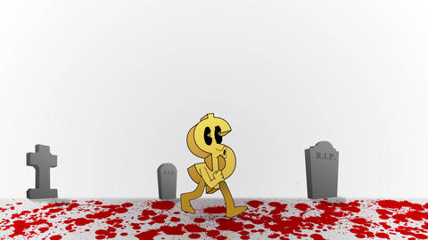 Animated Dollar Sign walking through Blood and Death Animation