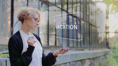 Blonde uses hologram Vacation Footage