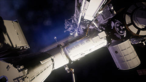 International Space Station in outer space Live Action