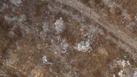 Aerial top view, large garbage pile at sorting site. Garbage pile in trash dump Footage