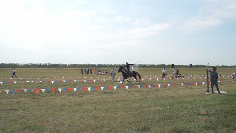 Cossacks in uniform perform tricks on horseback Live Action