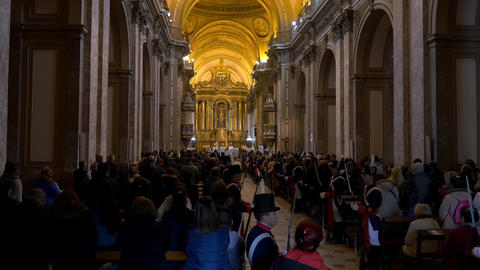 Independence day Bicentennial celebrations mass in Buenos Aires Cathedral, singi Footage