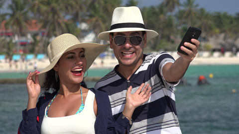Happy Tourists Selfie On Vacation Live Action
