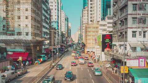 Traffic in Hong Kong Timelapse Zoom In Footage