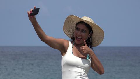 Female Taking Selfie At Ocean Footage