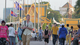 People walking along riverside walk,Phnom Penh,Cambodia Footage