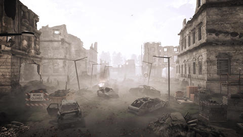 through in the apocalyptic ruined city CG動画