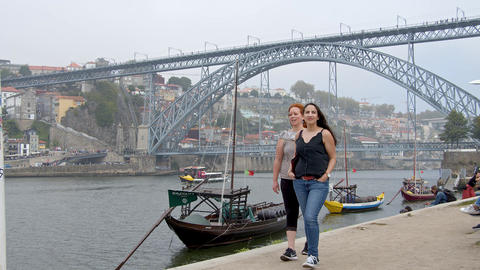 Famous Dom Luis Bridge in Porto - CITY OF PORTO, PORTUGAL - SEPTEMBER 18, 2019 Footage