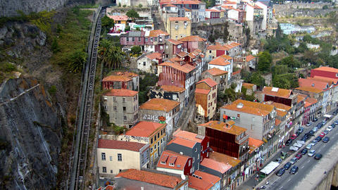 Aerial view over the historic district of Porto - CITY OF PORTO, PORTUGAL - Footage