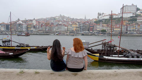 Relaxing at Douro River in the city of Porto - CITY OF PORTO, PORTUGAL - Footage