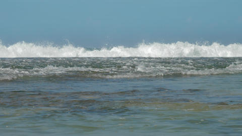 seascape with large waves and clear blue sky on sunny day Footage