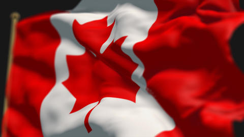 close-up of canada country flag, Ripples in the wind, slow motion Animation