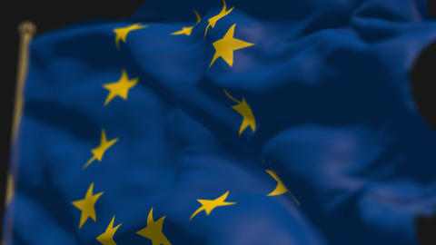 close-up of europe union country flag, Ripples in the wind, slow motion Animation