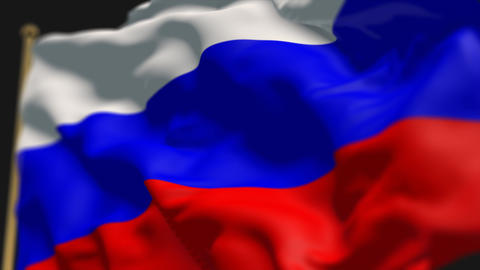 close-up of russia country flag, Ripples in the wind, slow motion Animation