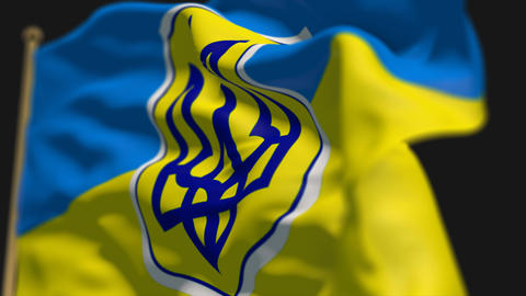 close-up of ukraine country flag, Ripples in the wind, slow motion Animation