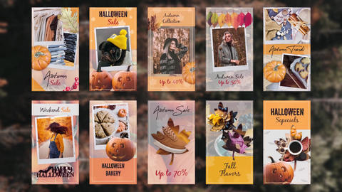 Autumn halloween instagram stories Plantillas de Premiere Pro