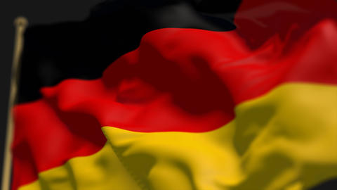 close-up of germany country flag, Ripples in the wind, slow motion Animation