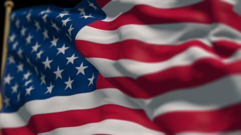 close-up of america country flag, Ripples in the wind, slow motion Animation