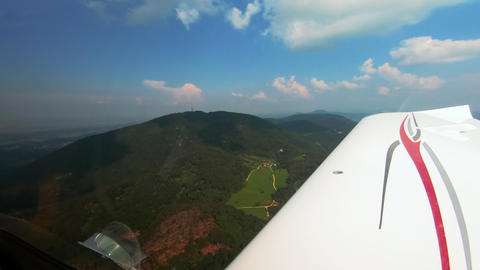 Pilots view from small airplane, cross country flying Footage
