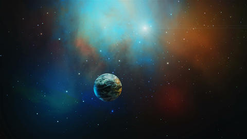 Space scene. 3D rotating planet fly in colorful nebula. Elements furnished by NASA. 3D rendering Animation