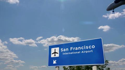 Airplane landing at San Francisco California Live Action