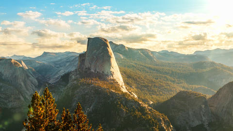 Time Lapse of the clouds moving behind Half Dome in Yosemite National Park Live Action