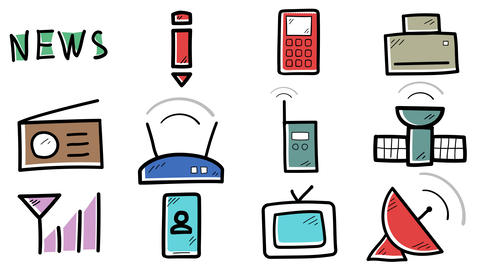 Set of hand-drawn icons about telecommunications Animation