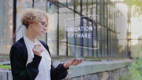 Blonde uses hologram Simulation software Footage