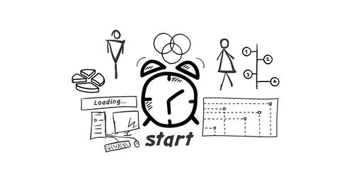 Isolated Hand Drawn Alarm clock Icon Stock Video Footage