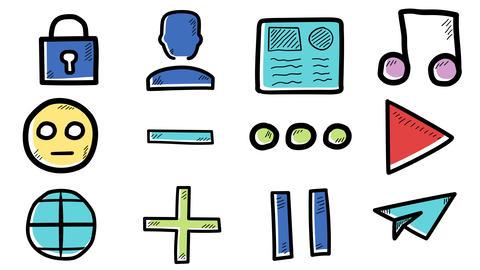 Set of hand-drawn icons about internet social networks Animation