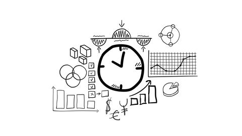 Isolated Hand Drawn clock Icon Animation