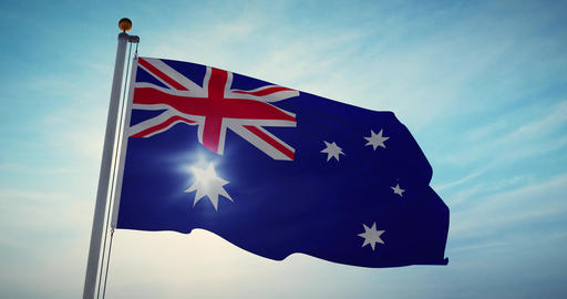 Australian Flag Waving Is A National Symbol Of Patriotism For Australia - 30fps 4k Slow Motion Video Animation