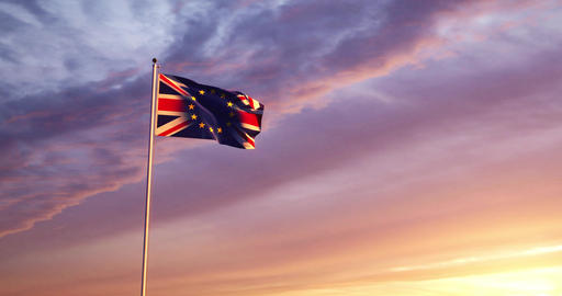 Brexit Flag Waving Depicts Leave Campaign To Exit The Eu - 4k 30fps Slow Motion Video Animation