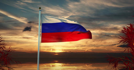 Tricolor Of Russian Federation Flag Flying In Moscow -…, Stock Animation