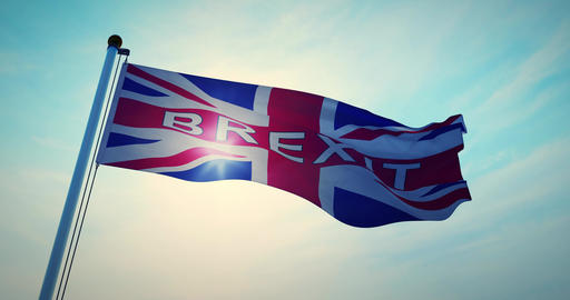 Brexit Flag Waving Depicts Leave Campaign To Exit The Eu - 4k 30fps Video Animation