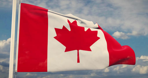 Canadian Flag Waving In The Wind Has Canada Maple Leaf Design - 30fps 4k Video Animation