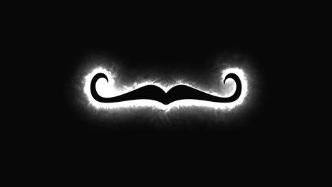 Computer generated background with neon light draws a mustache shape. 3D Footage