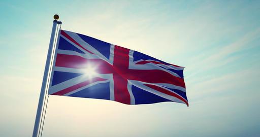 British Flag Waving Shows Union Jack United Kingdom National Banner - 30fps 4k Video Animation