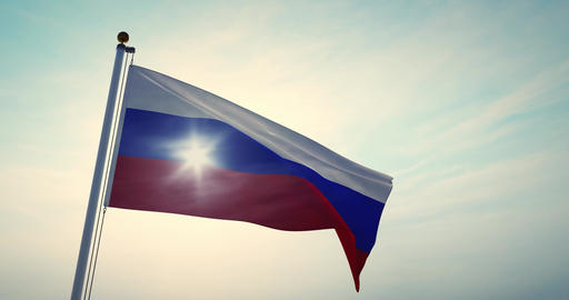 Russian Waving Flag Or Tricolor Of Russia Federation In Moscow - Video 30fps 4k Animation