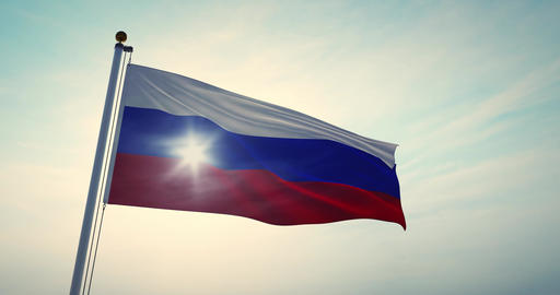 Russian Waving Flag Or Tricolor Of Russia Federation In…, Stock Animation