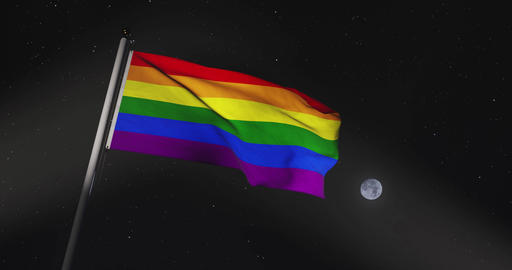 LGBT or LGBTQ Gay Right Banner Rainbow Flag Waving - 30fps Video 4k Footage Animation