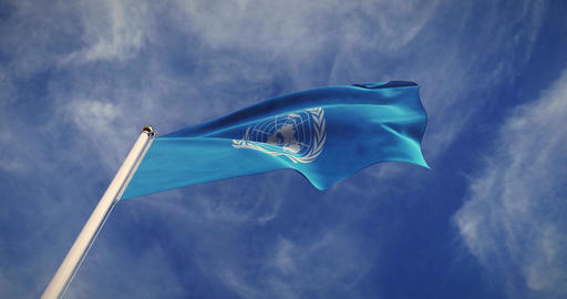 UN Organization Flag Waving Represents United Nations Council In New York - 4k 30fps Slow Motion Animation