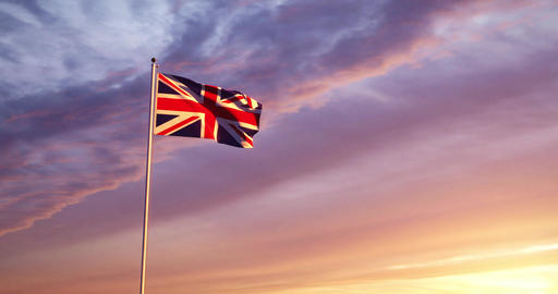 Union Jack Flying Shows British Flag Or United Kingdom National Banner - 30fps 4k Slow Motion Video Animation