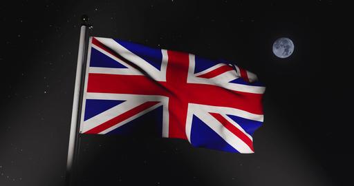 Union Jack Flying Shows British Flag Or United Kingdom National Banner - 30fps 4k Slow Motion Video Animation