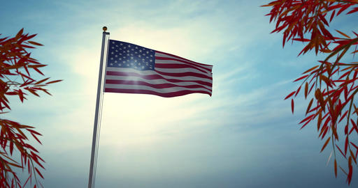 Usa Flag Flying In The United States Of America Shows Independence - Video 4k 30fps Animation
