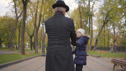 Back view of a mature Caucasian man in elegant black hat and coat strolling with Footage