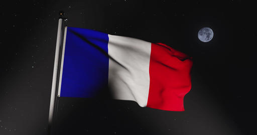 French Tricolour Waving Or France Flag Banner Flying - 30fps Slow Motion 4k Video Animation